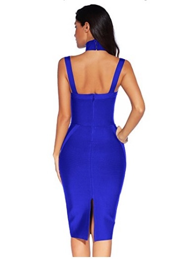 Blue Choker Style Cross Front Halter Celeb Inspired Midi Bandage Dress
