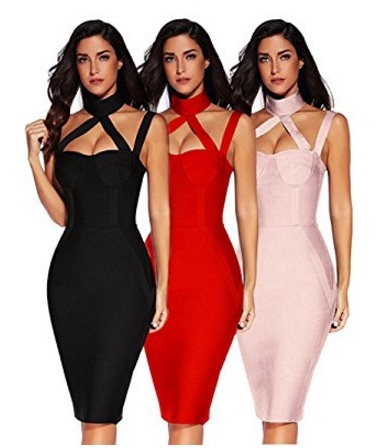 Rose Nude Choker Style Cross Front Halter Celeb Inspired Midi Bandage Dress