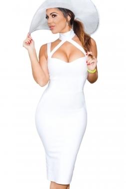 White Choker Style Cross Front Halter Celeb Inspired Midi Bandage Dress