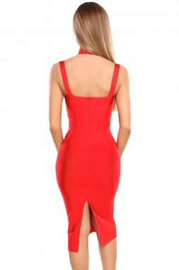 Red Choker Style Cross Front Halter Celeb Inspired Midi Bandage Dress