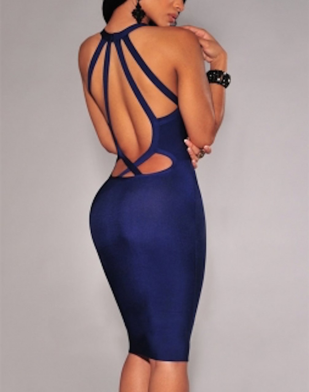 Navy Blue Keyhole Bust Cut Out Strappy Back Bandage Dress