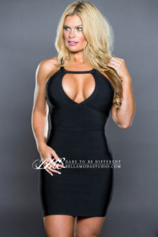 Black Little Keyhole Bust Cut Out Strappy Back Bandage Dress