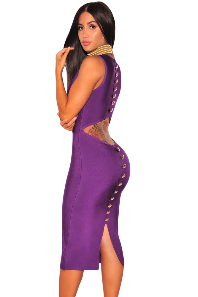 Royal Purple  V-Neck, Cut Out low back, Gold Button Bandage Dress