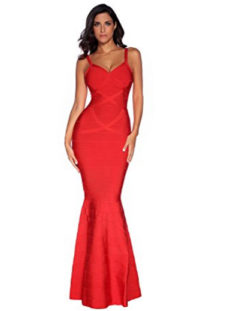 Red V-Neck Flared Formal Bandage Evening Gown