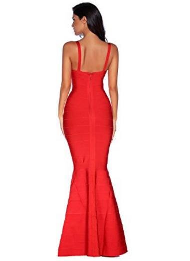 Red V-Neck Flared Formal Bandage Evening Gown