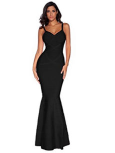 Black V-Neck Flared Formal Bandage Evening Gown