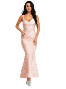 Beige V-Neck Flared Formal Bandage Evening Gown
