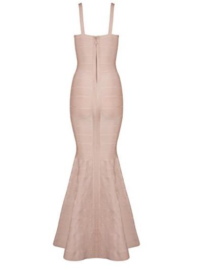 Beige V-Neck Flared Formal Bandage Evening Gown
