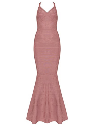 Dusty Rose Pink  V-Neck Flared Formal Bandage Evening Gown