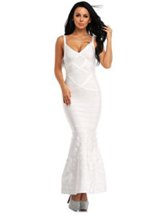 White  V-Neck Flared Formal Bandage Evening Gown
