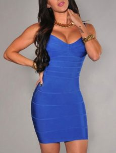 Blue Classic Backless Low Cut Mini Bandage Dress