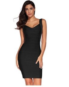 Black Little Classic Backless Low Cut Mini Bandage Dress