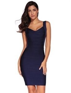 Navy Blue Classic Backless Low Cut Mini Bandage Dress