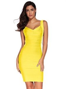 Yellow Classic Backless Low Cut Mini Bandage Dress