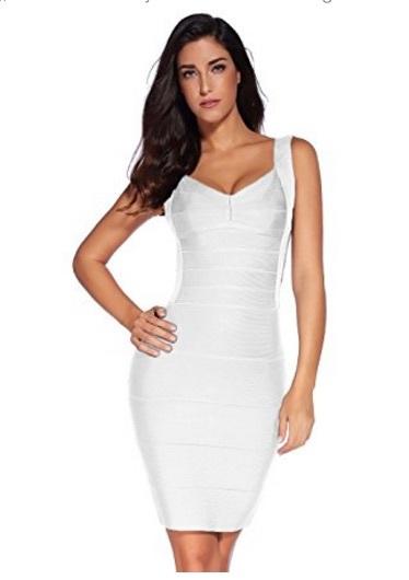 White Classic Backless Low Cut Mini Bandage Dress
