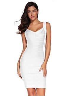 White Classic Backless Low Cut Mini Bandage Dress