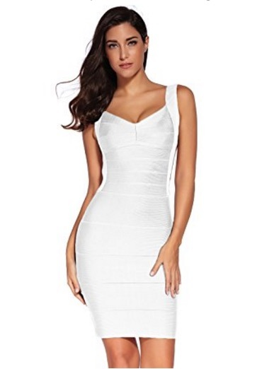 Classic Backless Cut White Mini Dress Low Bandage OknwP80