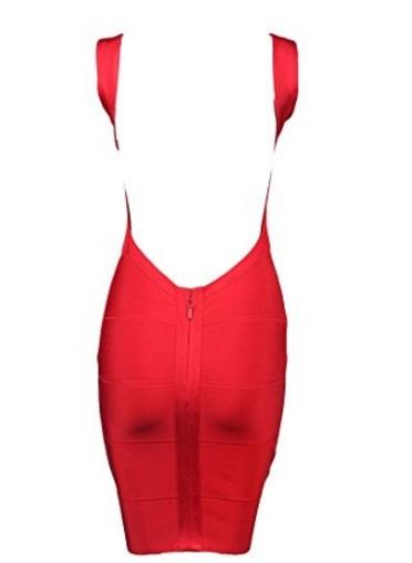 Red Classic Backless Low Cut Mini Bandage Dress