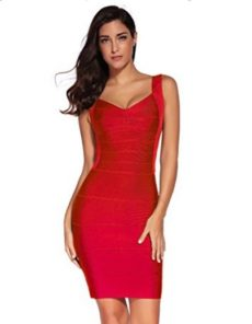 Red Classic Backless Low Cut Mini Bandage Dress