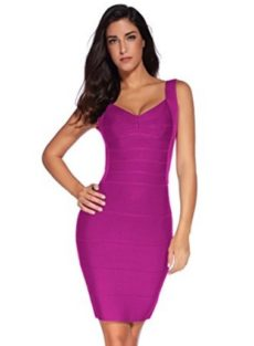 Purple Classic Backless Low Cut Mini Bandage Dress