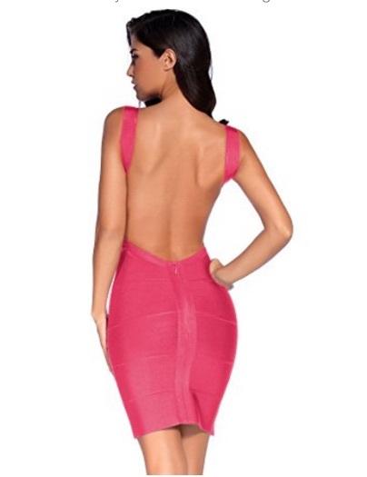 Pink Classic Backless Low Cut Mini Bandage Dress
