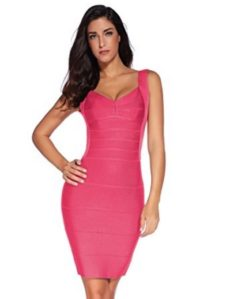 Pink Classic Backless Low Cut Mini Bandage Dress