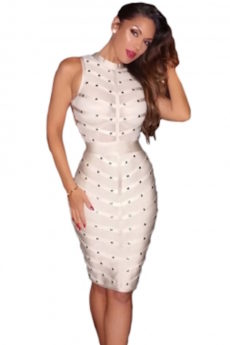 Beige Sheer Top Sleeveless Studded Celeb Inspired Bandage Midi Dress