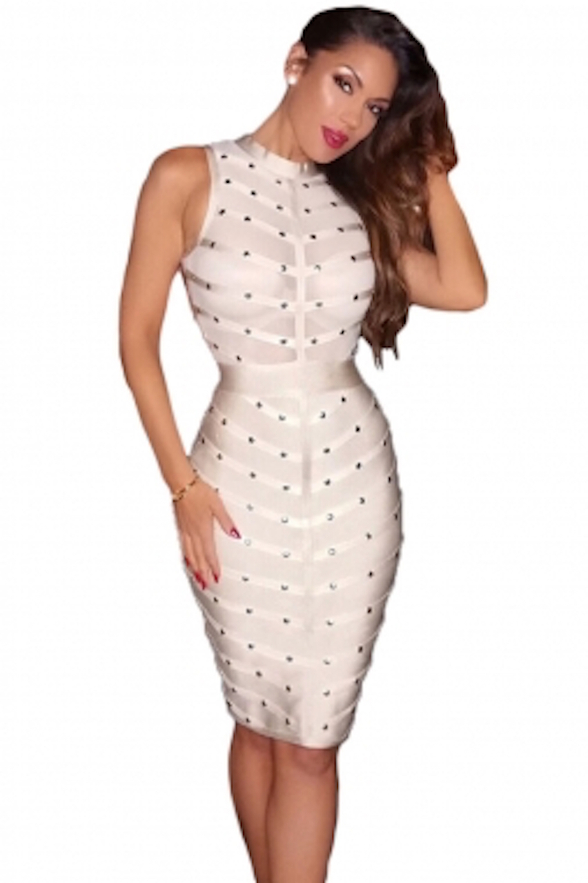 Beige Sheer Top Sleeveless Studded Celeb Inspired Bandage Midi Dress