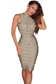 Gray Sheer Top Sleeveless Studded Celeb Inspired Bandage Midi Dress
