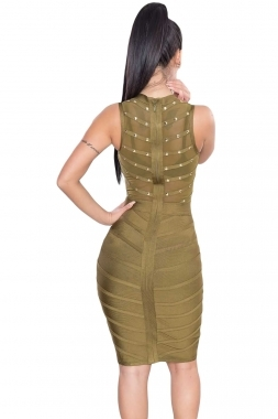 Army Green Sheer Top Sleeveless Studded Celeb Inspired Bandage Midi Dress