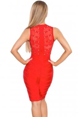 Red Sheer Top Sleeveless Studded Celeb Inspired Bandage Midi Dress