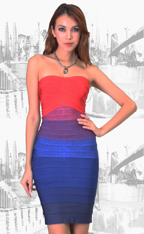 SMALL - Red to Blue Gradient Ombre Strapless Mini Bandage Dress