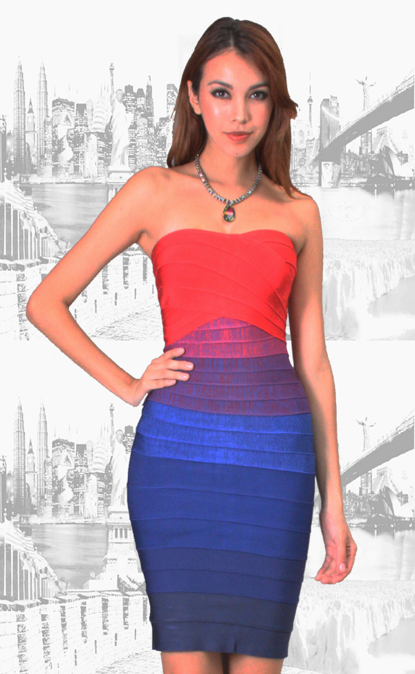 MEDIUM - Red to Blue Gradient Ombre Strapless Mini Bandage Dress