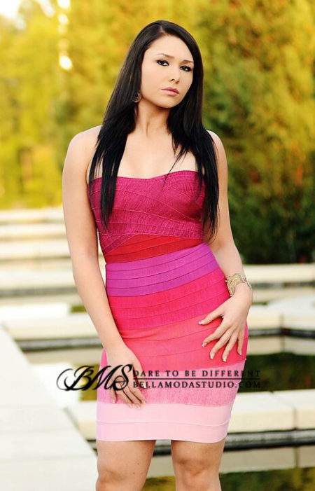 SMALL - Hot Pink to Light Pink Gradient Ombre Strapless Mini Bandage Dress