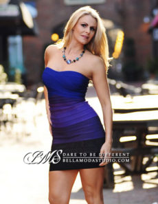 SMALL - Purple to Blue Gradient Ombre Strapless Mini Bandage Dress