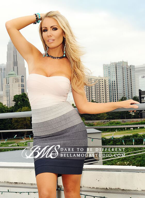 SMALL - Nude To Grey Gradient Ombre Strapless Mini Bandage Dress