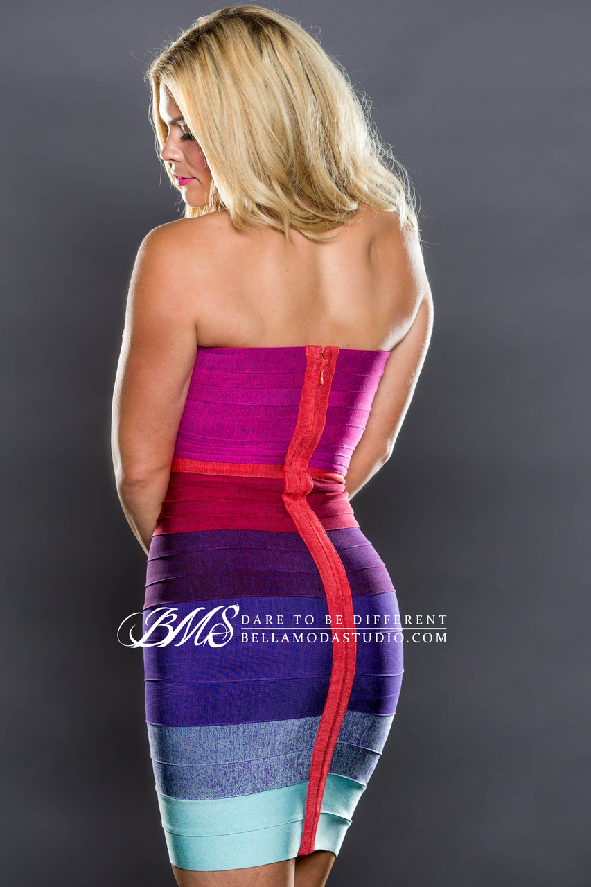 MEDIUM - Hot Pink, Red, Purple, & Teal Gradient Ombre Strapless Bandage Dress