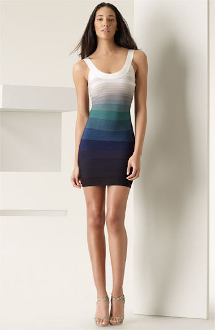SMALL - Blue to Cream Ombre Gradient Celeb Inspired Bandage Dress