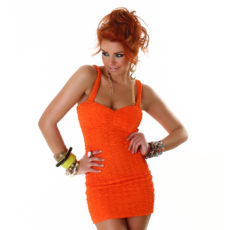 Orange Sweet Summer Sun Dress Mini Jumper