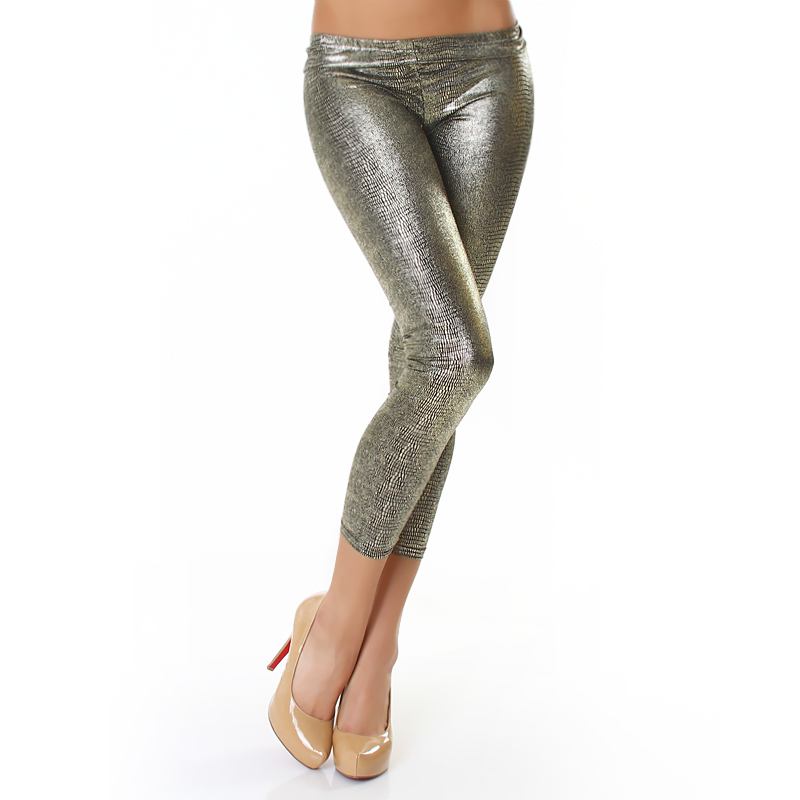 Stretch Black Metallic Crackle Leggings - One size fits all