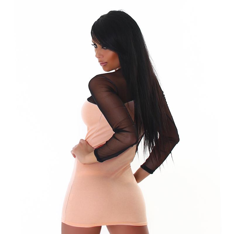 Black Mesh Sheer & Nude Peach Cut Out See Through Mini  / Club Mini Dress