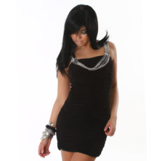 Chain Detail Ruched Little Black Mini Dress  / Club Mini Dress