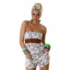 Strapless Lavender Floral Short Shorts Jumpsuit  Romper with Belt by L Mode