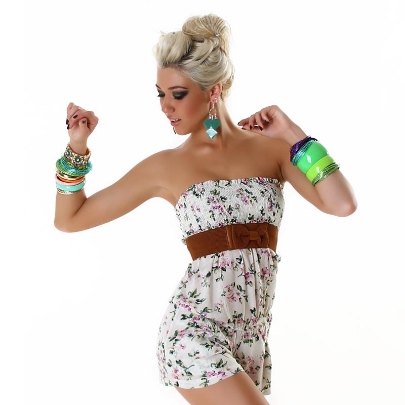 Strapless Lavender Floral Short Shorts Jumpsuit  Romper with Belt by L Mode