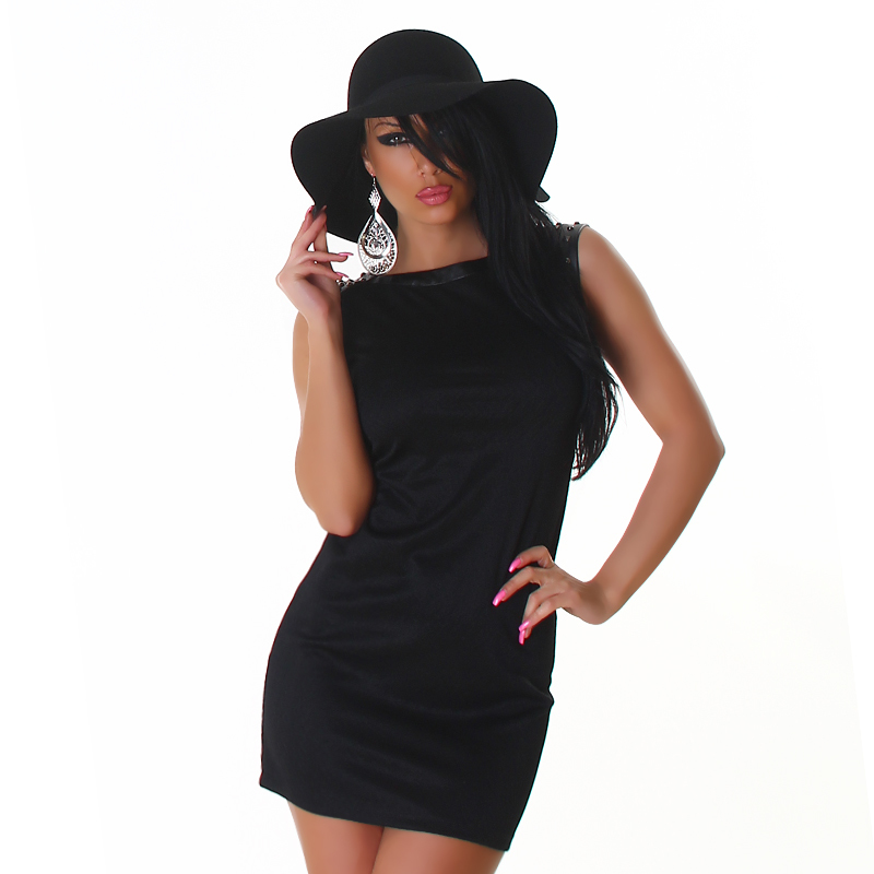 Studded Little Black Mini Pencil Dress with Leather Accents  / Club Mini Dress by Voyelle's