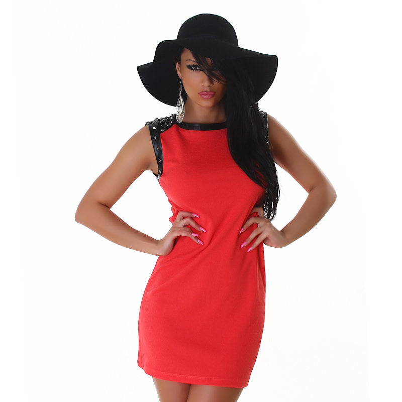 Studded Little Black & Red Mini Pencil Dress with Leather Accents  / Club Mini Dress