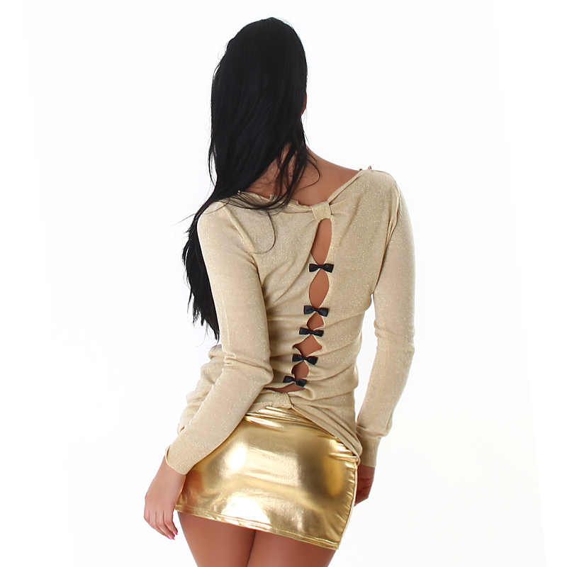 Metallic Gold Studded Shimmer Cut Out Boat Neck Top Tunic with Retro Bow Details Kimono Sweater
