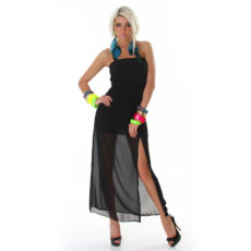 Black Summer Strapless Sheer Sun Dress Maxi or Cover Up with High Slit