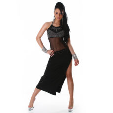 Black Sheer Mesh Cut Out High Slit Halter Dress with Rhinestones