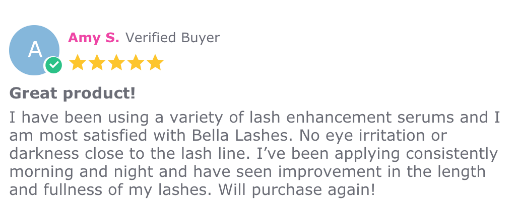 Amy S Review Bella Lashes - Eyelash and Brow Growth Enhancing Serum